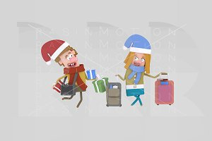 3d illustration. Couple suitcases
