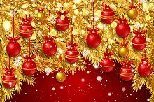 New Year background. Golden fir