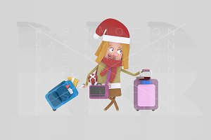 3d illustration.Santa girl suitcases