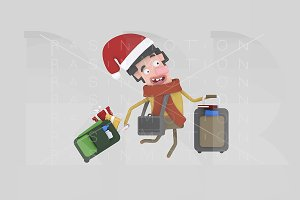 3d illustration.Santa boy suitcases.
