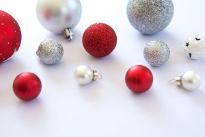 Christmas Baubles in Red & White