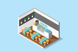 Isometric Illustration - Cafetaria