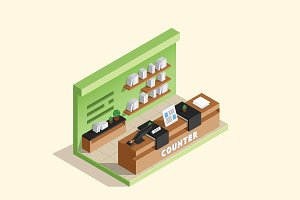 Isometric Illustration - Cashier