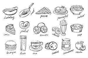 Hand drawn Fast Food and Fruits