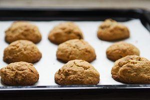 fresh oatmeal cookies on paper
