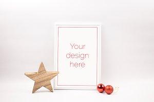 White Christmas Frame Mockup (PSD)
