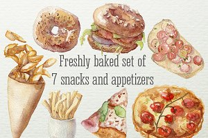 Watercolor snacks and appetizers set