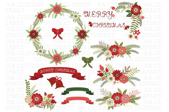 Christmas Floral clip art pack