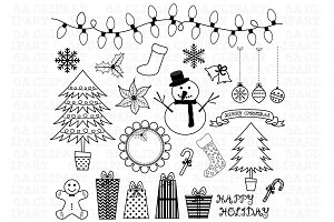 Christmas Doodles ClipArt