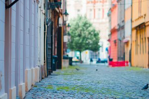 Old beautiful empty narrow streets in small city of Prague in Czech Republic