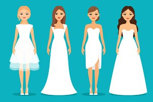 Women in wedding dresses