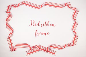 Red Ribbon Christmas Frame