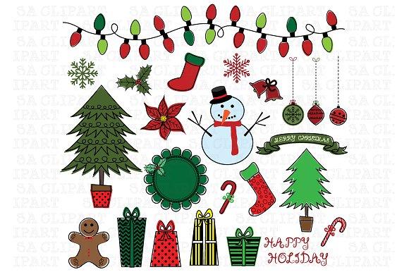 Christmas Color Doodles ClipArt