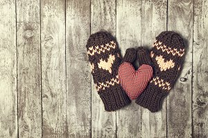 Winter or love concept with gloves