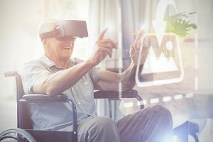 Senior using VR headset