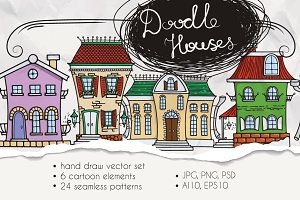 Set of Cute Doodle Houses
