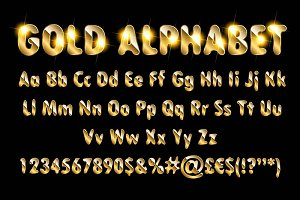Golden alphabet letters numbers