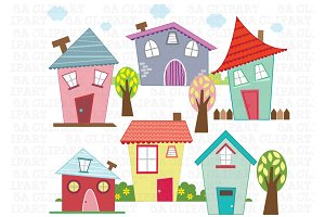 Little Houses Digital Clip Art