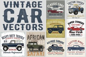 Vector Set Of Vintage Cars
