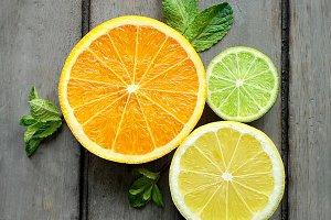 Lemon, orange and lime