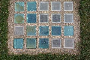 Colour glass pavement light