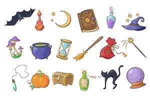 Haloween and magic icons
