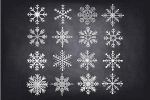 Chalkboard Snowflakes ClipArt