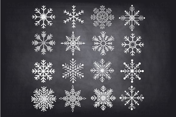 Chalkboard Snowflakes ClipArt in Illustrations