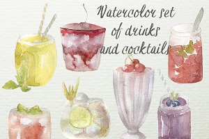 Watercolor set of drinks & cocktails