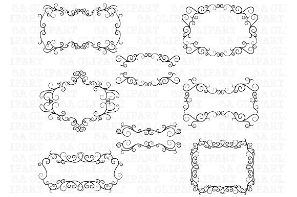 Flourish Swirl Border Frame Clipart ~ Illustrations on Creative Market