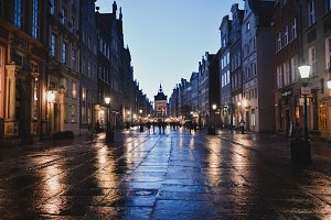 Street after Rain at the Evening