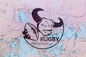 vector set of prints Bulls Rugby