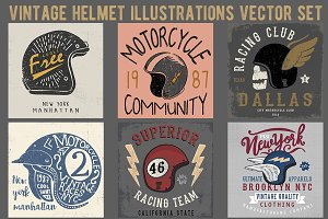 Helmet Illustrations Vector Set