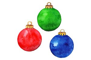 Red green blue Christmas ball set