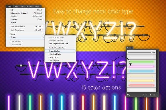 Glowing Neon Honey Yellow Type