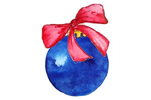 Blue Christmas ball with bow