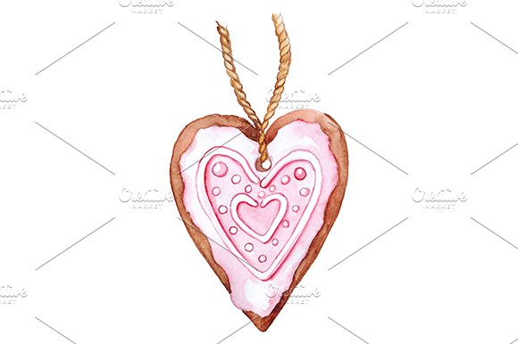 Pink Heart Shaped Ginger Biscuit