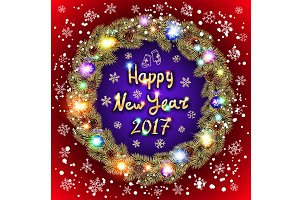 Christmas happy new year 2017 gold