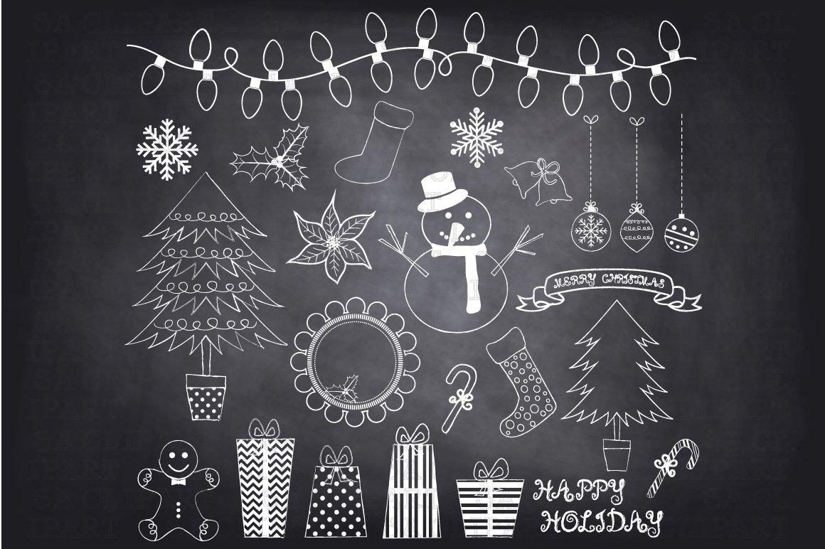 Chalkboard Christmas Doodles Clipart Illustrations