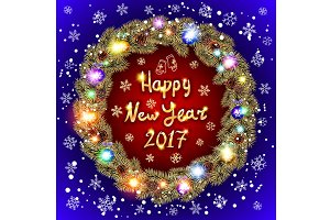 New Year Vector 2017 gold wreath