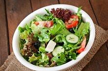 Salad of herbs, vegetables