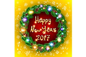 happy new year 2017 green wreath