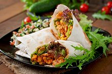 Burritos with beef and vegetables