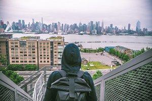 Tourist with Manhattan in backgound