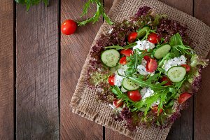 salad with cottage cheese, herbs