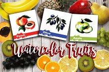 Watercolor Fruits hand drawn