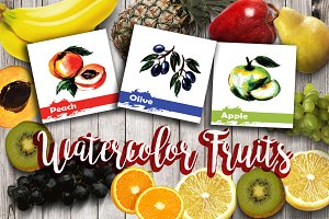 Watercolor Fruits hand drawn