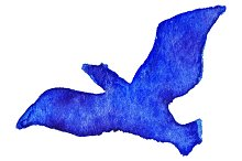 Watercolor blue bird vector isolated