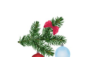 Christmas tree branch, decorations