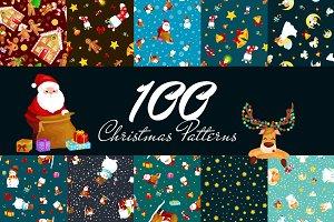 100 Christmas Seamless Pattern